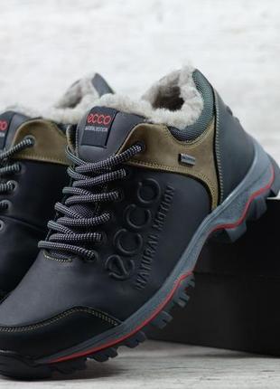 Натуральная кожа мужские зимние кожаные кроссовки на меху утеп...