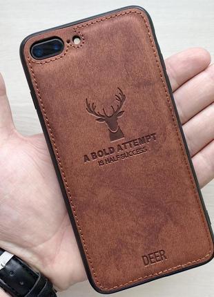 Чехол коричневый на для айфон iphone 8 + plus плюс с рисунком ...
