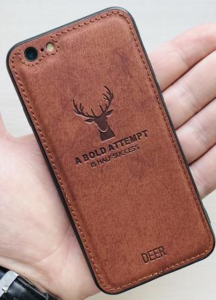 Чехол коричневый на для айфон iphone 6 с рисунком оленя силико...