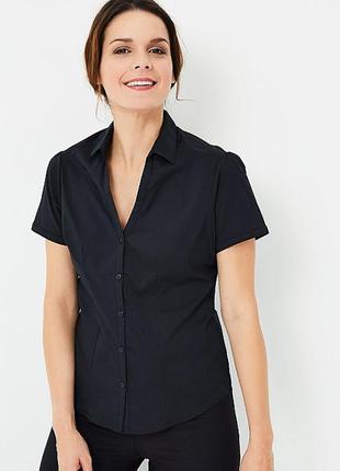 Черная блузка, рубашка v вырез мысиком, рукава фонарики, прита...