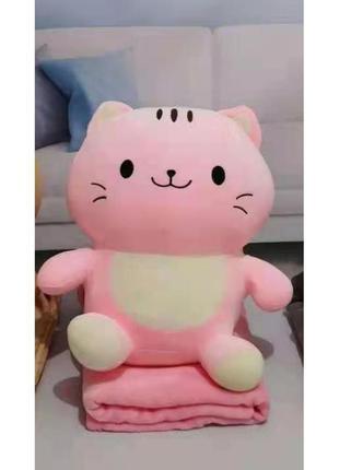 Мягкая игрушка с пледом кот розовый (игрушка+подушка+плед) 110...