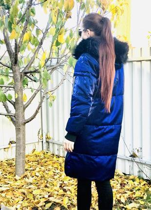 Куртка пуховик зефирка оверсайз синий цвет длинный с капюшоном