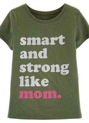 """Позитивная и нарядная футболка, carters, """"умная и сильная, как..."""