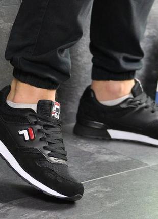 Мужские кроссовки fila upstage черные, весенние, замшевые