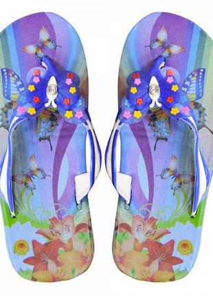 """Детские вьетнамки """"butterfly"""" синие"""