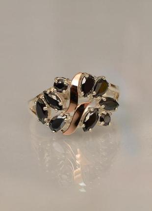 Кольцо серебро 925 с золотом 133к черное