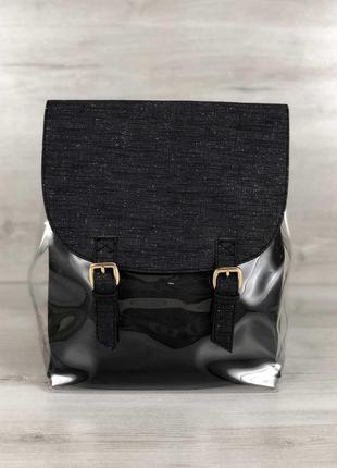 Рюкзак силиконовый с косметичкой (черный блеск)