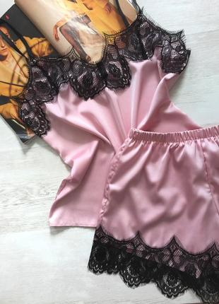 Пижама женская шелковая майка и шорты красная размер с