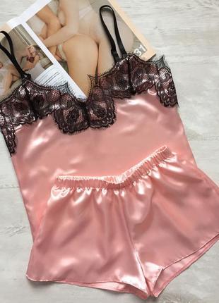 Пижама женская майка шорты атласная персиковая