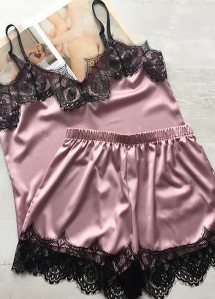 Пижама женская шелковая майка и шорты пудра