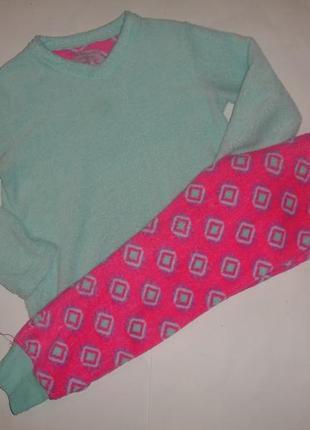Фирменная пижама пушистый флис девочке 7-8 лет теплейшая