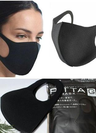 Оригинальная японская антибактериальная маска - pitta черная, ...