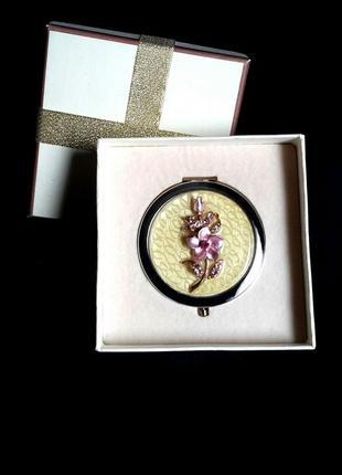 Зеркальце косметическое,карманное в подарочной упаковке