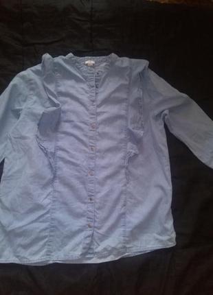 Рубашка блуза кофта с воланом с баской рюши джинсовая рубашка