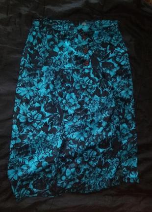 Юбка карандаш миди длинная юбка с пуговицами принт цветы