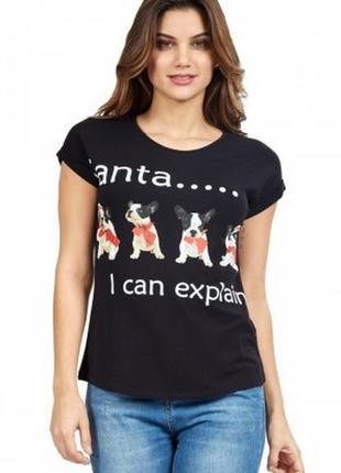 Cуперовая стрейчевая футболка в новогодний принт с надписью ви...