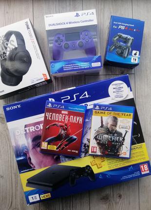 Sony PlayStation 4 Slim 1TB  + 2 Джойстика и ПОДАРКИ