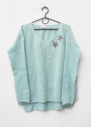 Осенний зимний мохеровый свитер оверсайз свободной вязки с дли...