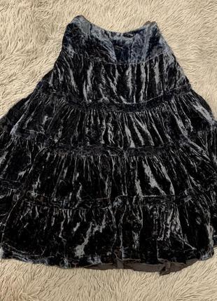 Шикарная бархатная юбка синий бархат велюр размер с-м