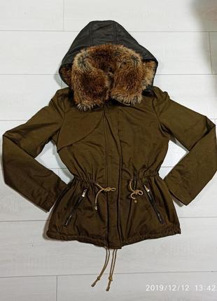 Парка куртка zara (зара) s-m на меху