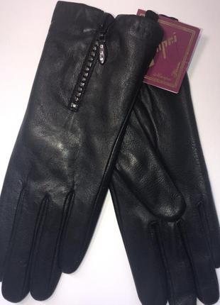 Перчатки женские кожаные с молнией manpei с натуральным мехом