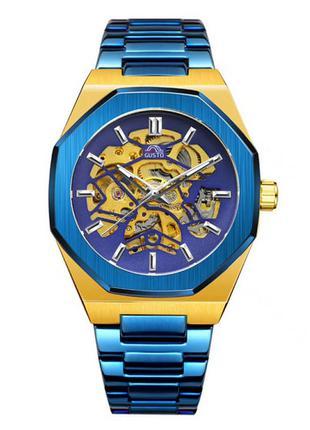 Наручные часы  Gusto Skeleton Blue-Gold