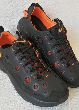 Кроссовки кожаные мужские дышащие с сеткой чёрные с оранжевым
