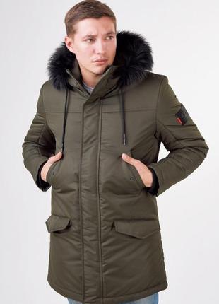 Зимняя мужская куртка парка с мехом 2019
