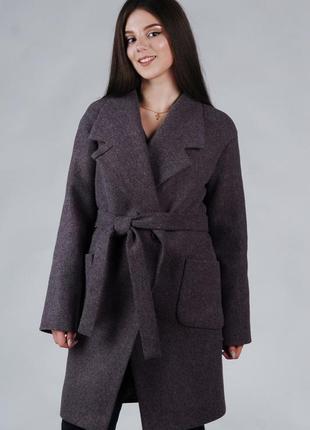 Весеннее женское пальто серое