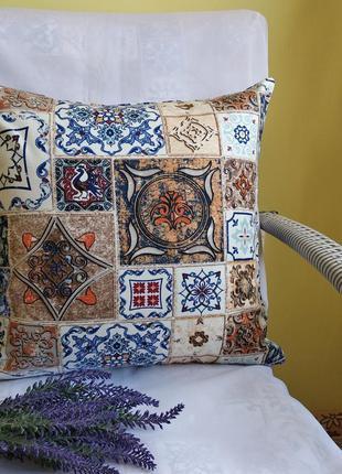 Декоративная наволочка 40*40 см витражи, плитка, мозаика с вод...