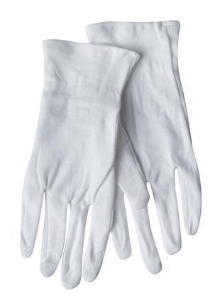 Белые парадные пятипалые перчатки