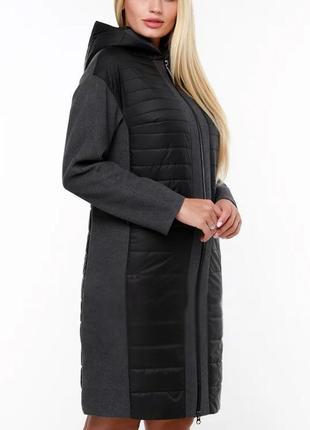Длинная черная комбинированя куртка демисезонная (44-54)