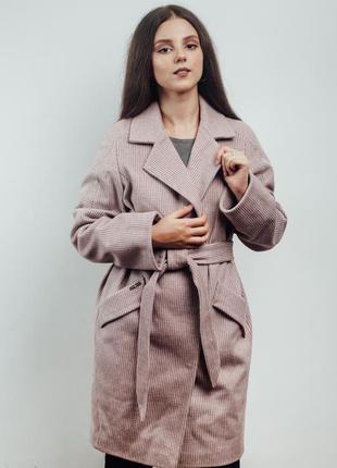 Прямое осеннее пальто (мелкая клетка) (40-48)