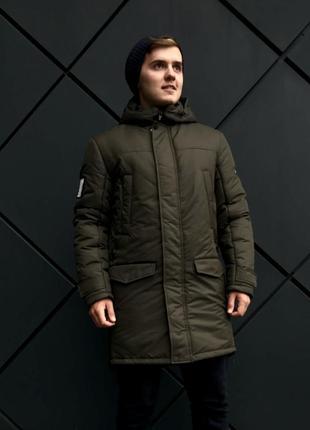Зимняя зеленая мужская куртка парка (46-54)