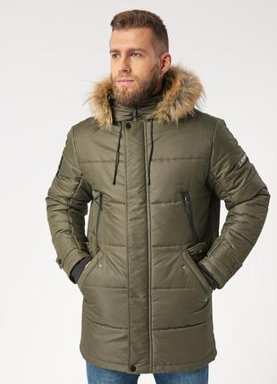 Зимняя зеленая мужская куртка парка с мехом (46-56)