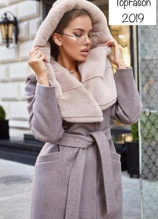 Зимнее женское пальто с мехом мутона {42-50}