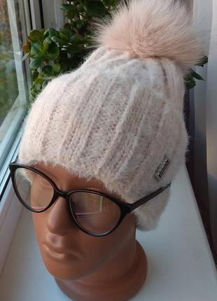 Новая красивая ангоровая шапка на флисе, натуральный бубон, ню...