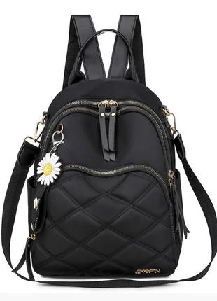 Рюкзак женский черный из нейлоновой ткани