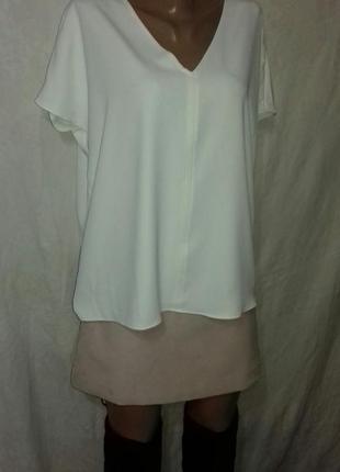 🕊1+1=3 белая блуза в v вырезом 🐇