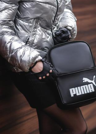 женский черный Рюкзак Puma (белый лого)