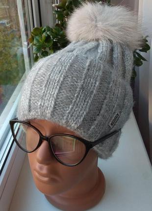Новая красивая ангоровая шапка на флисе, натуральный бубон, серая