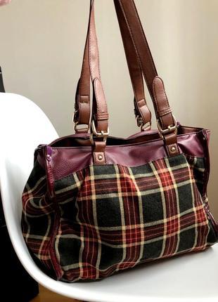 Текстильная сумка бордовый и клетка