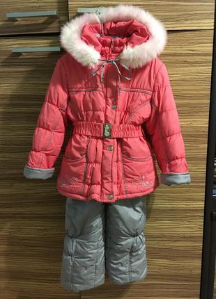 Зимний комбинезон 2в1 для девочки куртка полукомбез