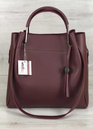 Модная женская сумка бордового цвета