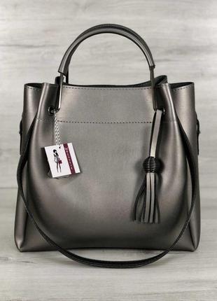 Модная женская сумка металлик