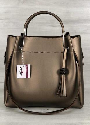 Модная женская сумка бронза