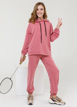 Розовый спортивный костюм из трикотажа