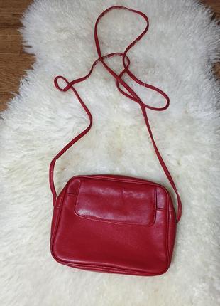 Кожаная красная сумка кросс-боди натуральная кожа