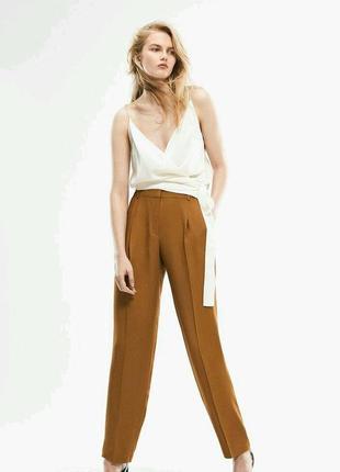 Бомбезные брюки с защипами, с карабином. горчичного цвета---sisle