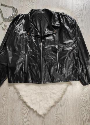 Черная кожаная латекс куртка косуха батал большого размера кож...